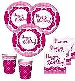 50 Teile Party Set Happy Birthday Perfectly Pink für 16 Personen