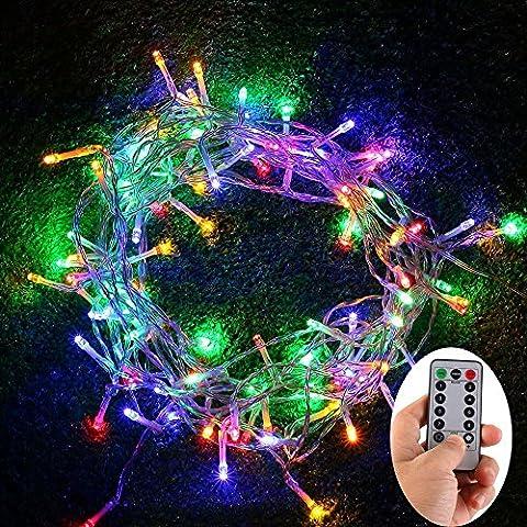 10 metri 100 LED Luci Stringa a Batteria - Remote, trasparente cavo, 8 modalità, dimmerabili, impermeabile per Natale, matrimoni, feste, bar, discoteche, decorazione dell
