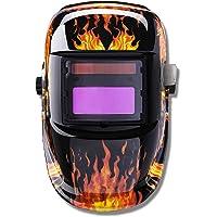 LARS360 Solar Schweißhelm Automatik Schweißmaske Schweißschirm Schweißschild für TIG MIG ARC alle Schweißanwendungen mit Großes Sichtfeld und UV-Schutz (Flammenden Schädel)