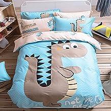 """Ropa de Cama para Niños 100% algodón 4 piezas 1 Funda del edredón 2 Funda de la almohada y 1 sábana(155x205cm) Forma de """"Caricatur Dinosaurio"""" Color Azul Claro"""
