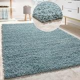 Paco Home Shaggy Teppich Hochflor Langflor Teppiche Hochwertig Pastell Uni Versch. Farben, Grösse:Ø 160 cm Rund, Farbe:Türkis