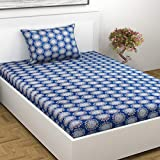 Indiana Home 100% Cotton Single Bed Sheet With 1 Pillow Cover| Blue|Ethnic(GLZ1043)