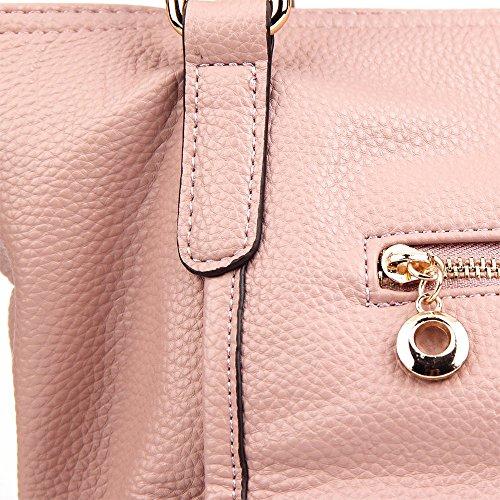 CASELAND Damen Henkeltasche Tote Handtaschen Umhängetasche Damen Schultertaschen Hobo PU Ledertaschen Median Größe Tasche (L:26CM * H:21CM * W:19CM) Rosa