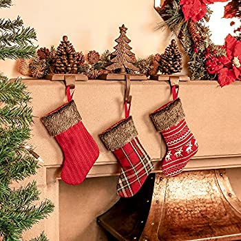 Set Of 3 Miniature Woven Christmas Stockings Complete With Faux Fur Tartan Red