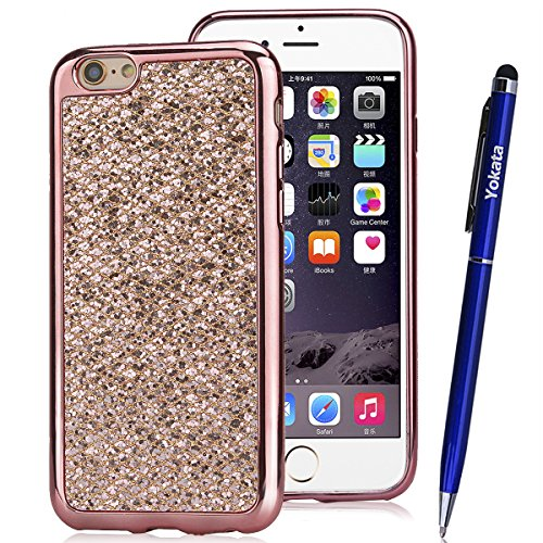 iPhone 6 / iPhone 6s Hülle, Yokata Glitzer Silikon Weich Case mit Bumper Bling Luxury Dünn Case Schutzhülle Protective Cover Rose Gold