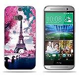 Fubaoda HTC M8/M8S Hülle,[Blumen-Turm-Brücke] Anti-Dropping PC Handy-Tasche Back-Cover Ultra Slim Weich Silikon Transparent Designs Schutzhülle für HTC M8/M8S