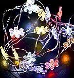 LED 10er Blumen Lichterkette Twinkel Effekt -Batterie- 100cm bunt Xmas Weihnachten Deko