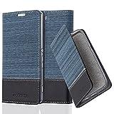 Cadorabo Hülle für Sony Xperia M5 - Hülle in DUNKEL BLAU SCHWARZ – Handyhülle mit Standfunktion und Kartenfach im Stoff Design - Case Cover Schutzhülle Etui Tasche Book