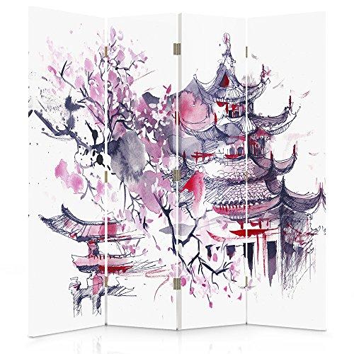 Feeby Frames Biombo impreso sobre lona, tabique decorativo para habitaciones, a doble cara, de 4 piezas (145x150 cm), CEREZO DEL JAPÓN, ABSTRACCIÓN, MORADO