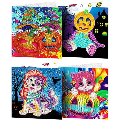 TIREOW_Halloween TIREOW 4pcs DIY Weihnachtskarte Weihnachtsmann Elch Schneemann Kürbis Katze Hund Diamant Malerei Grußkarte für Kind Junge Mäd (Hausgemachte Kinder Skelett Kostüm)
