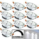 Hengda 10er Pack 7W LED Einbauleuchte Dimmbar Deckenspots Vitrinenbeleuchtung für Geschäft Alu-matt Rund Design 230v Strahler