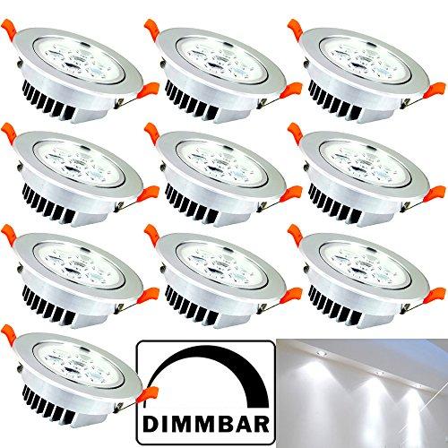 Hengda® 10er Pack 7W LED Einbauleuchte Dimmbar Deckenspots Vitrinenbeleuchtung für Geschäft Alu-matt Rund Design 230v Strahler