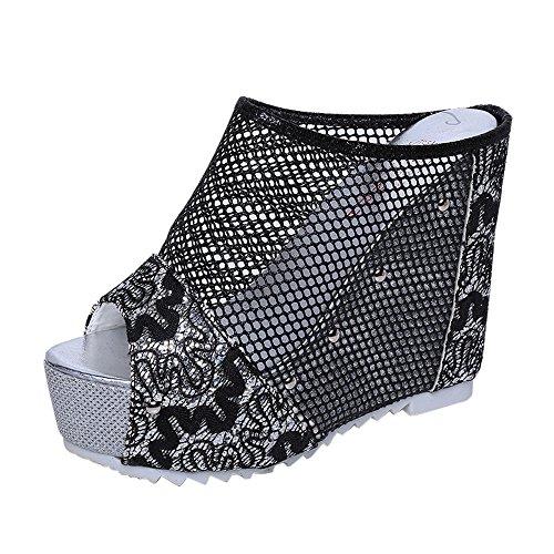 AIni Damen Schuhe Sommer Beiläufiges Strand Partyschuhe Freizeitschuhe Flip Flops Hohl Keil Absatzschuhe Sandalen(36,Schwarz)