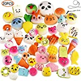 Random 20pcs Slow Rising Kawaii Squishies Medium Mini Soft Squishy Toys Panda Buns Cake Bread Cute Face Straps Charm Stress Relief Squeeze Toy iPhone & Android Headphone-Jack