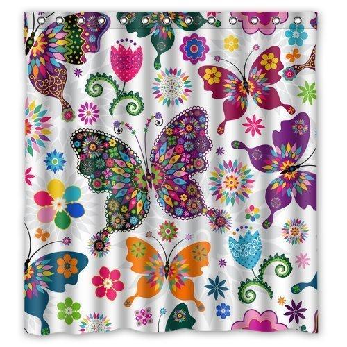 BBFhome Hem Gewichte Modische Badkollektion Custom Wasserdicht Nahtlose Frühling Muster Bunte Schmetterlinge Duschvorhang 168 x 180 cm mit 12 Haken (Nahtlose Moderne Kurze)