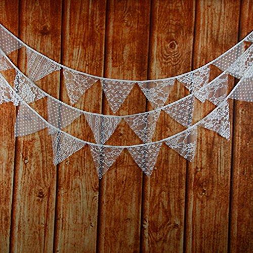yalulu Vintage Party Dekoration Triangle Spitze Flaggen Banner Wimpelkette Zeremonie Geburtstag Partys Zeremonien Küche Schlafzimmer Hochzeit Dekorationen (Vintage Party Dekorationen)