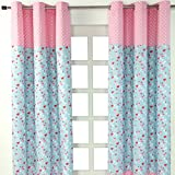 Homescapes Kindervorhang Mädchen Kinderzimmer Ösenvorhang Fensterdekoration Vögeln und Blumen 2 Stücke pink blau 100% reine Baumwolle (B 117 x H 137 cm)