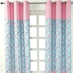 Homescapes Kindervorhang Mädchen Kinderzimmer Ösenvorhang Fensterdekoration Vögeln und Blumen 2 Stücke pink blau 100…