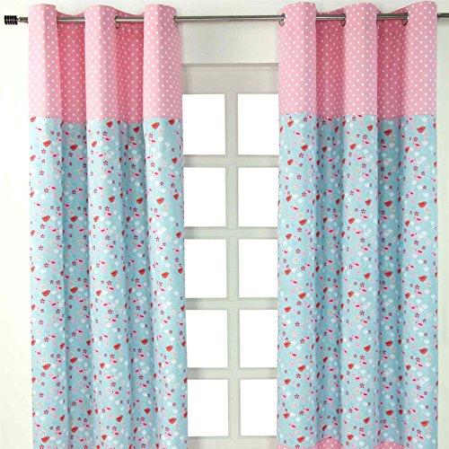 Homescapes Kindervorhang Mädchen Kinderzimmer Ösenvorhang Fensterdekoration Vögeln und Blumen 2 Stücke pink blau 100% reine Baumwolle (B 137 x H 182 cm) - Baby-mädchen-kinderzimmer-fenster-vorhang