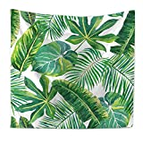 Tapestry Wandbehang, Grüne Tropische Blätter Natürliche Palm Blätter Bananenblatt Pflanze Wand Kunst Zimmer Dekoration Decke,A,78.7X59in