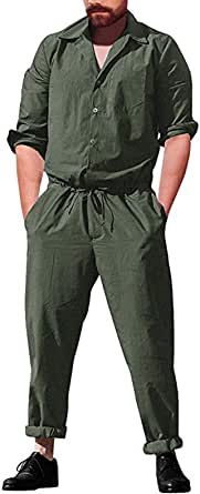 Livingsenburg Men Jumpsuit Casual Summer Long Sleeve Lapel Neck Retro Outfits Dungarees Button Overalls
