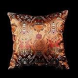 LORENZO CANA - Home Edition - Marken Kissenhülle aus Seidenbrokat Kupfer - Kissenbezug Seide Barock - 96014