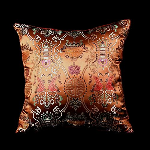 LORENZO CANA - Home Edition - Marken Kissenhülle aus Seide Kupfer - Kissenbezug Seide Barock Brocat - 96014