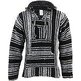 Siesta Mexikanischer Baja Jerga Hippie Pullover mit Kapuze, Schwarz/Weiß Gr. L, schwarz/weiß