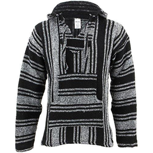 Siesta Herren Kapuzenpullover, Gestreift schwarz schwarz/weiß One Size Gr. XXL, schwarz/weiß -