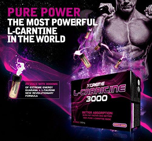 Xtreme 100% Pure L-Carnitine Vials 3000mg - Complément d'acides aminés de haute qualité au goût fruits tropicaux pour la perte de poids, le mental et plus d'énergie - 20 vials !