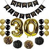 Party-Deko-Set zum 30. Geburtstag, Papiergirlanden, Papierblumen, Pom Poms, 30 xLatex-Luftballons, Requisiten