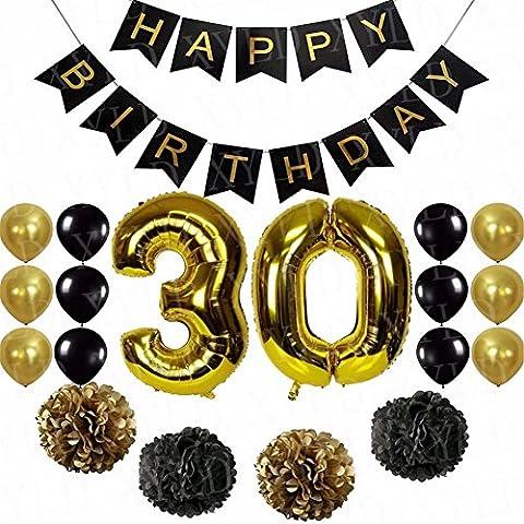 30Jahre Old Happy Birthday Party-Deko-Set Papier Hängendes Banner, Girlanden, Papier