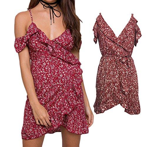 LUFA Reizvoller tiefer V Ansatz weg vom Schulter Kurzschluss Hülsen Kleid Frauen Blumendruck Kurzschluss Kleid Eine Farbe