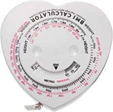 Phenovo Body Mass Index Tape Calculator & Retractable Measure Diet Weight Loss Heart