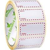 500 x diepvriesetiketten op rol, afmeting 50x25mm, witte en rode datumetiketten voor levensmiddelen zelfklevend