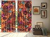 "Indian Tie Dye Yoga Print Mandala Window Curtain, Hippy Drape Balcony, Boho Hippie Human Body Meditation, Living Room Bedroom Curtain 2 Panels Set 84 x 80"" By Bhagyoday Fashions"