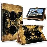 """#DoYourMobile© 6Zoll Tasche / Schutzhülle für eBook-Reader / eReader - wasserabweisendes Kunstleder mit 4Punkt-Gurthalterung in der Größe 17,5 x B 12,5cm / für Tablets mit Bildschirmgröße ca. 6,5-7,2"""" / Design : Katze mit Brille"""
