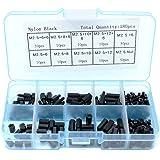 Yuhtech 180 stuks M2.5 zwart nylon hex spacer schroef standoff accessoires assortiment kit