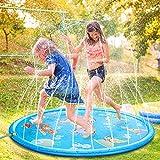 Tappetino Gioco d'Acqua per Bambini,170cm Spruzzi e Splash Tappeto Gioco d'Acqua da Giardino, Gioco da Giardino & Piscina all'aperto Giocattoli Spray Divertimento per Bambini Piccoli Ragazzi e Ragazze