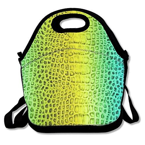 NEON Alligator Haut Lunch Bag Handtasche Lunchbox für Schule Arbeit Outdoor