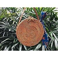 Sacchetto rotondo di cestino del rattan, Sacchetto di rattan, sacchetto di paglia, sacchetto fatto a mano, Round Rattan Bag, Weave Bag, Basket Bag with FREE sciarpa