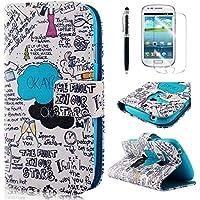 PhoneCase Graffiti Art Text Muster Bottom Series PU Leder Wallet Schutzhülle mit Display Schutzfolie für Samsung Galaxy S3 mini inkl. Stylus Stift schwarz/weiß