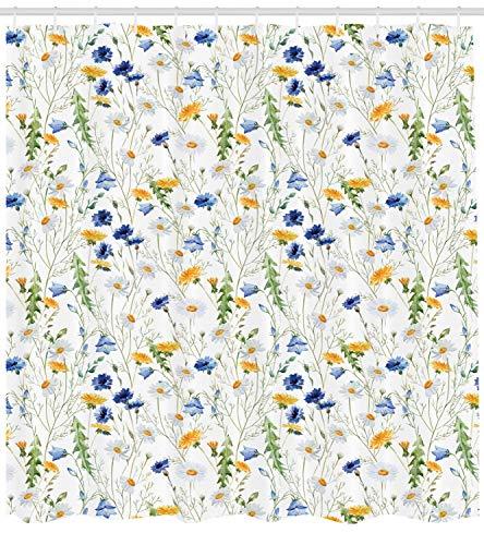 66x72 pollici tenda da doccia per fiori,fiori selvatici papaveri e margherite scenario di natura rurale in prati rustici,tessuto arredo bagno con set di ganci,giallo bianco