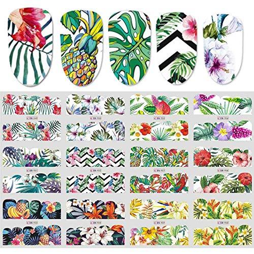 NCKLY Nagel-Aufkleber 12 Designs Flamingo Wassertransfer Sticker Decals Floral Dschungel Nagel Slider Tattoos Schmetterling Maniküre Dekor Tipps