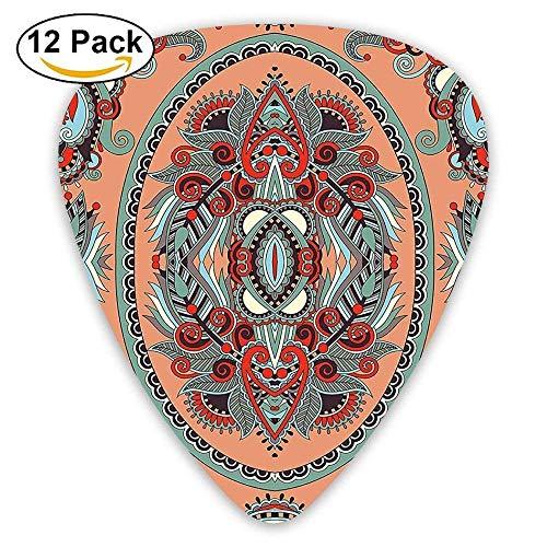 Blumen-teppich-designs (Ethnische Thema ukrainischen Teppich Design mit Blumen Paisley-Muster Plektren 12 Pack Für E-Gitarre, Akustikgitarre, Mandoline und Bass)