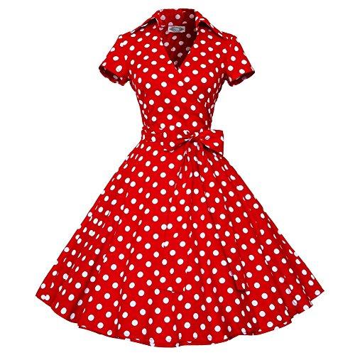 Rétro Vintage années 50 's Style Audrey Hepburn Rockabilly Robe de Swing Bal à Manches Courtes P-Rouge