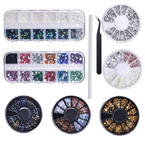 Kit Strass Biutee 1 Stylos de Manucure 1 Pince Brucelle 5 Roues Strass 2 Boîtes Strass Ongles Nail Art pour Clous 3D Décoratifs Ongles Téléphone Vêtements Artisanat DIY