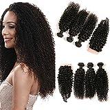 DAIMER Brazilian Kinky Curly Lace Closure Frontal Mit 3 Bundles Weave Verlängerung Human Haare Echthaar Extensions Natural Locken Wellig Tressen Die Natürlichen 20 22 24 +18 Closure