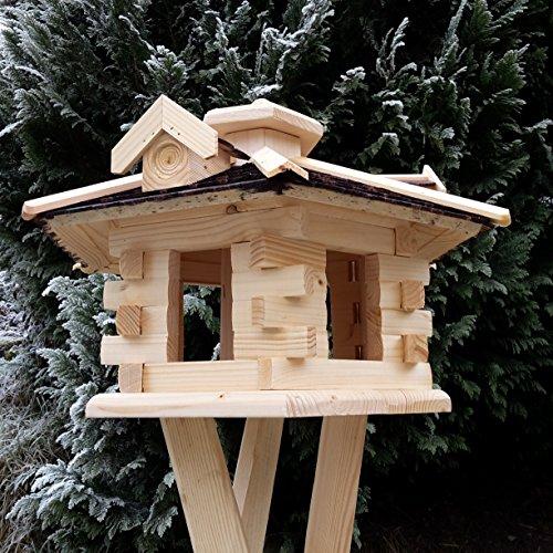 Qualitäts Vogelhaus mit Holzschindeln 6 Eck lasiert Vogelhäuser-Vogelfutterhaus großes Vogelhäuschen-aus Holz Wetterschutz (Dunkelbraun) - 3