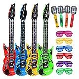 Hicarer Rock Star Spielzeug Set Enthält 4 Aufblasbare Gitarre 4 Aufblasbare Mikrofon und 6 Shutter Shade Atzenbrille für Weihnachten Party